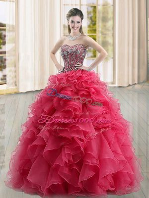 Coral Red Ball Gowns Beading and Ruffles Sweet 16 Dresses Lace Up Organza Sleeveless Floor Length