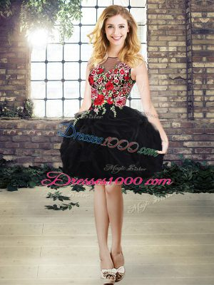 Elegant Black Lace Up Dress for Prom Embroidery and Ruffles Sleeveless Mini Length