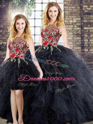 Sleeveless Embroidery and Ruffles Zipper Vestidos de Quinceanera