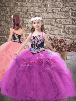 Purple Straps Neckline Embroidery and Ruffles Pageant Gowns Sleeveless Lace Up