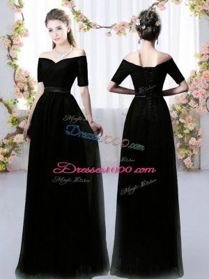 Black Short Sleeves Floor Length Ruching Lace Up Wedding Party Dress