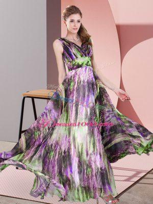 Gorgeous V-neck Sleeveless Formal Dresses Floor Length Pattern Multi-color Printed