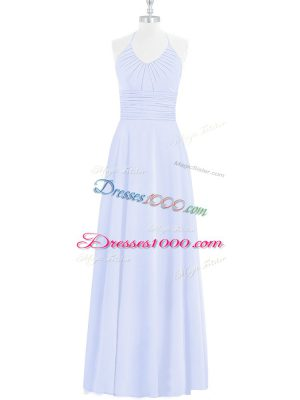 Chiffon Halter Top Sleeveless Zipper Ruching Prom Dress in Baby Blue