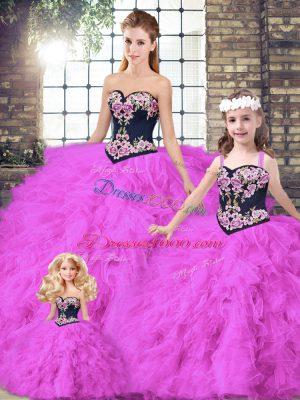 Floor Length Ball Gowns Sleeveless Fuchsia Sweet 16 Quinceanera Dress Lace Up