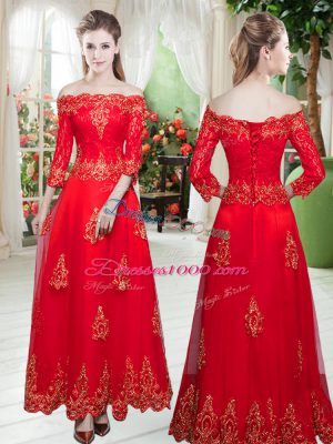 Trendy Red Prom Dress Prom and Party and Wedding Party with Lace and Appliques Off The Shoulder 3 4 Length Sleeve