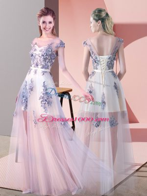 Pink Empire Appliques Homecoming Dress Lace Up Tulle Cap Sleeves Floor Length