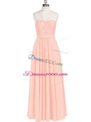 Pink Sleeveless Ruching Floor Length Dress for Prom