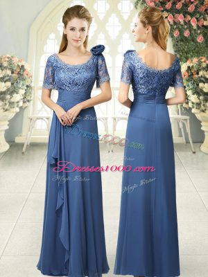 Decent Blue Scoop Neckline Beading and Ruching Evening Dress Short Sleeves Zipper
