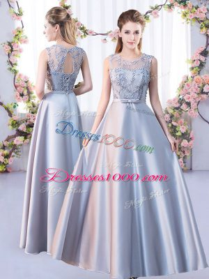 Silver Sleeveless Lace Floor Length Wedding Party Dress