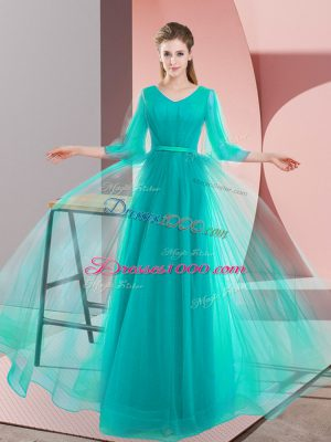 Glorious Tulle V-neck Long Sleeves Lace Up Beading Dress for Prom in Turquoise