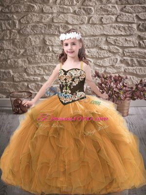 Modern Gold Ball Gowns Straps Sleeveless Tulle Floor Length Lace Up Embroidery and Ruffles Pageant Dress Womens