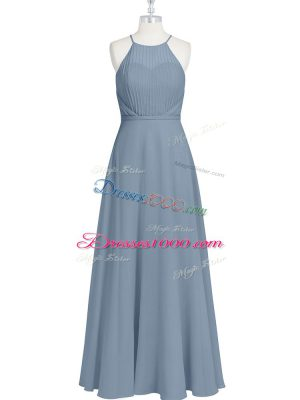 Sleeveless Chiffon Floor Length Zipper Casual Dresses in Grey with Ruching and Pleated