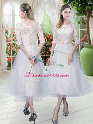 Low Price Tea Length White Prom Evening Gown Tulle Half Sleeves Lace