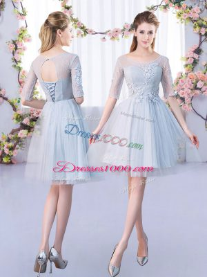 Gorgeous Mini Length Grey Quinceanera Court Dresses Tulle Half Sleeves Lace
