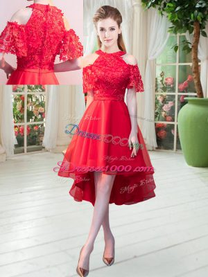 Lace Dress for Prom Red Zipper Short Sleeves High Low