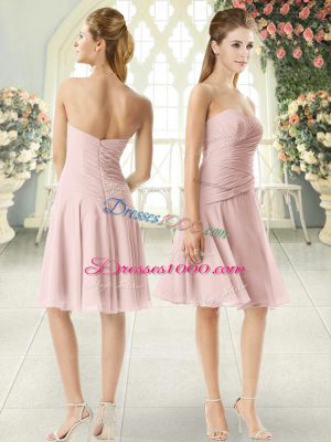 Custom Designed Pink Sleeveless Ruching Knee Length Prom Gown