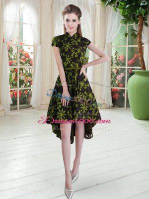 Multi-color A-line Appliques Womens Party Dresses Zipper Lace Short Sleeves High Low