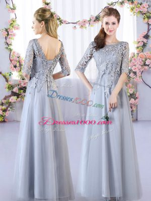 Grey Quinceanera Court Dresses Prom and Party and Wedding Party with Lace Scoop Half Sleeves Lace Up