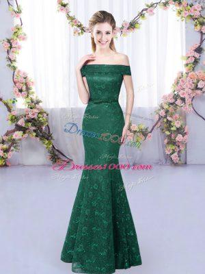 Fantastic Dark Green Mermaid Lace Vestidos de Damas Lace Up Sleeveless Floor Length