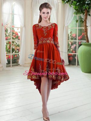 High Quality High Low Red Prom Dress Scoop Long Sleeves Lace Up