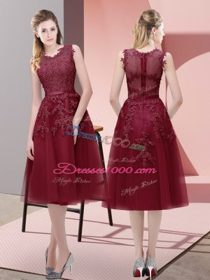 Burgundy Tulle Lace Up V-neck Sleeveless Tea Length Prom Gown Beading and Lace and Appliques