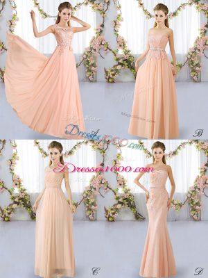 Colorful Scoop Sleeveless Bridesmaid Dresses Floor Length Lace Peach Chiffon
