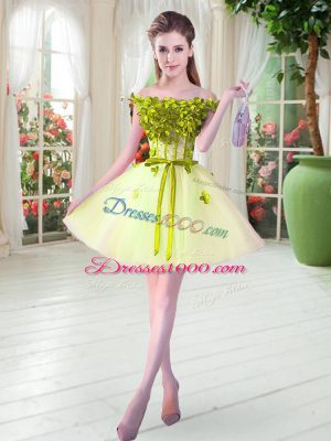 Comfortable Yellow Green Sleeveless Tulle Lace Up Prom Party Dress for Prom and Party