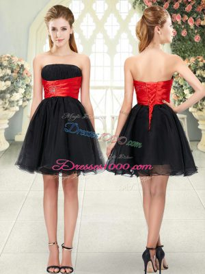 Cute Black A-line Beading Homecoming Dress Lace Up Organza Sleeveless Mini Length