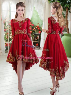 A-line Homecoming Dress Wine Red Scoop Satin Long Sleeves High Low Lace Up