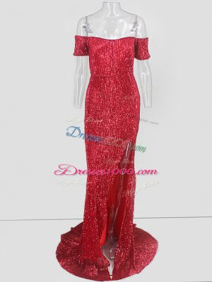 Sumptuous Red Mermaid Off The Shoulder Short Sleeves Sweep Train Sequins Evening Dress