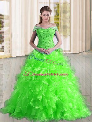 Elegant Sleeveless Sweep Train Beading and Lace and Ruffles Lace Up Vestidos de Quinceanera