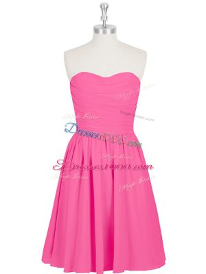 Nice Hot Pink Sweetheart Zipper Ruching and Pleated Prom Party Dress Sleeveless