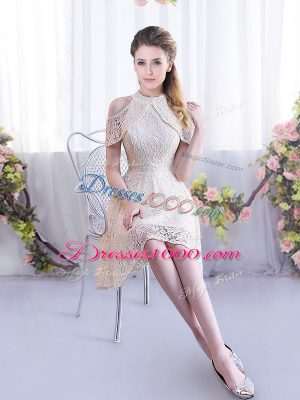 Cute Champagne Sleeveless Mini Length Lace Lace Up Dama Dress for Quinceanera