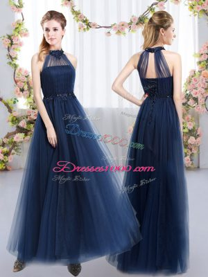 Low Price Navy Blue Wedding Guest Dresses Prom and Party and Wedding Party with Appliques High-neck Sleeveless Lace Up