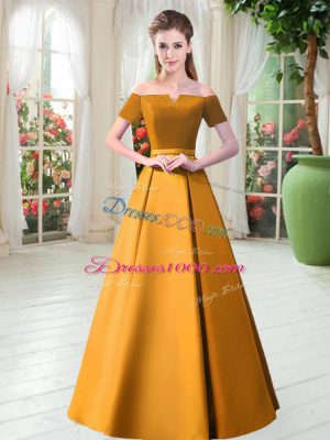 Sexy Gold Lace Up Prom Dress Belt Short Sleeves Floor Length