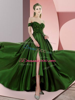 Green Empire Elastic Woven Satin Off The Shoulder Sleeveless Beading Backless Prom Dresses Sweep Train