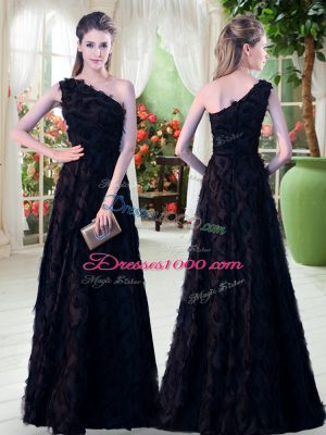 Custom Designed Black Sleeveless Floor Length Appliques Zipper Dress for Prom