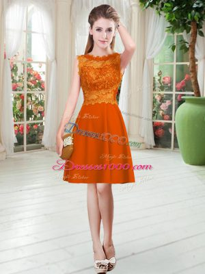 Knee Length Empire Sleeveless Orange Red Prom Dress Zipper