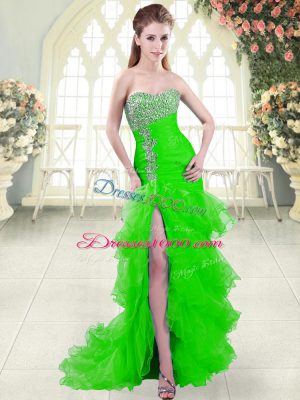 Sleeveless Brush Train Beading and Ruffled Layers Lace Up Dress for Prom
