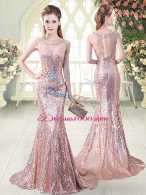 Beauteous Sequined Sleeveless Homecoming Dress Brush Train and Beading