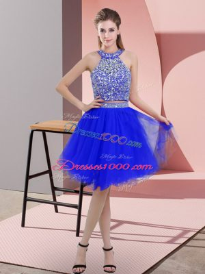 Royal Blue Halter Top Backless Beading Prom Dress Sleeveless