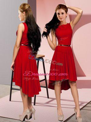 Scoop Sleeveless Prom Dress High Low Belt Red