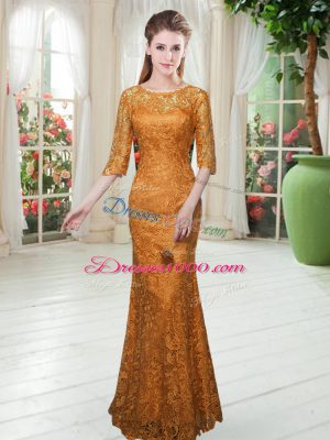 Simple Orange Zipper Scoop Lace Party Dresses Half Sleeves