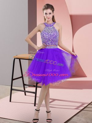 Traditional Purple Organza Backless Casual Dresses Sleeveless Knee Length Beading