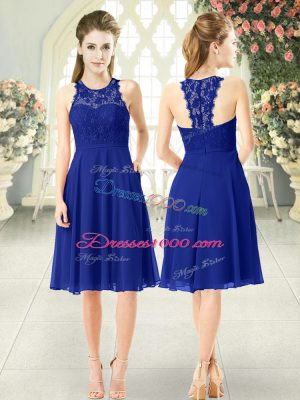 Royal Blue Prom Party Dress Prom and Party with Lace Scoop Sleeveless Zipper