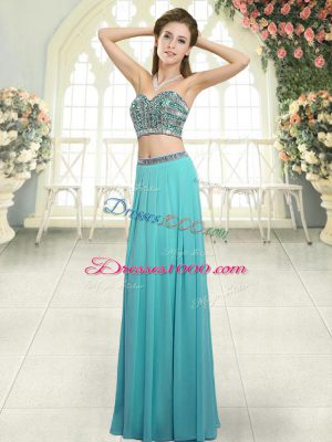 Aqua Blue Backless Sweetheart Beading Party Dress for Girls Chiffon Sleeveless