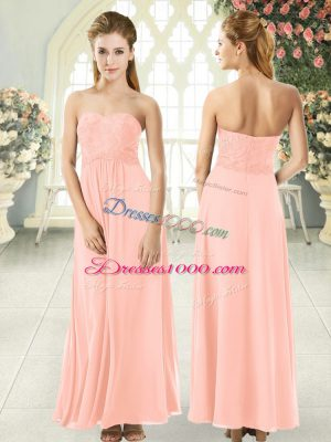 Peach Sleeveless Lace Ankle Length Prom Evening Gown