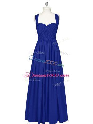 Sweet Royal Blue A-line Ruching Prom Party Dress Zipper Chiffon Sleeveless Floor Length