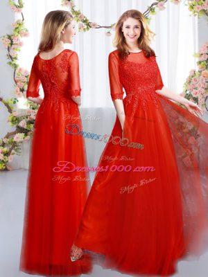 Ideal Empire Damas Dress Red Scoop Tulle Half Sleeves Floor Length Zipper