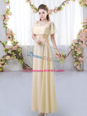 Custom Designed Floor Length Zipper Bridesmaids Dress Light Yellow for Prom and Party and Wedding Party with Appliques